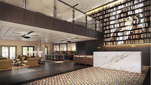 Hotel lobby rendering