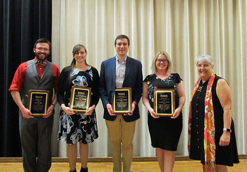 Graduate School excellence in teaching award recipients with dean