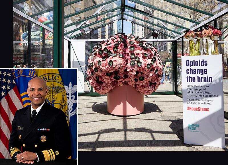 Brain Flower in N.Y. and inset of Dr. Adams