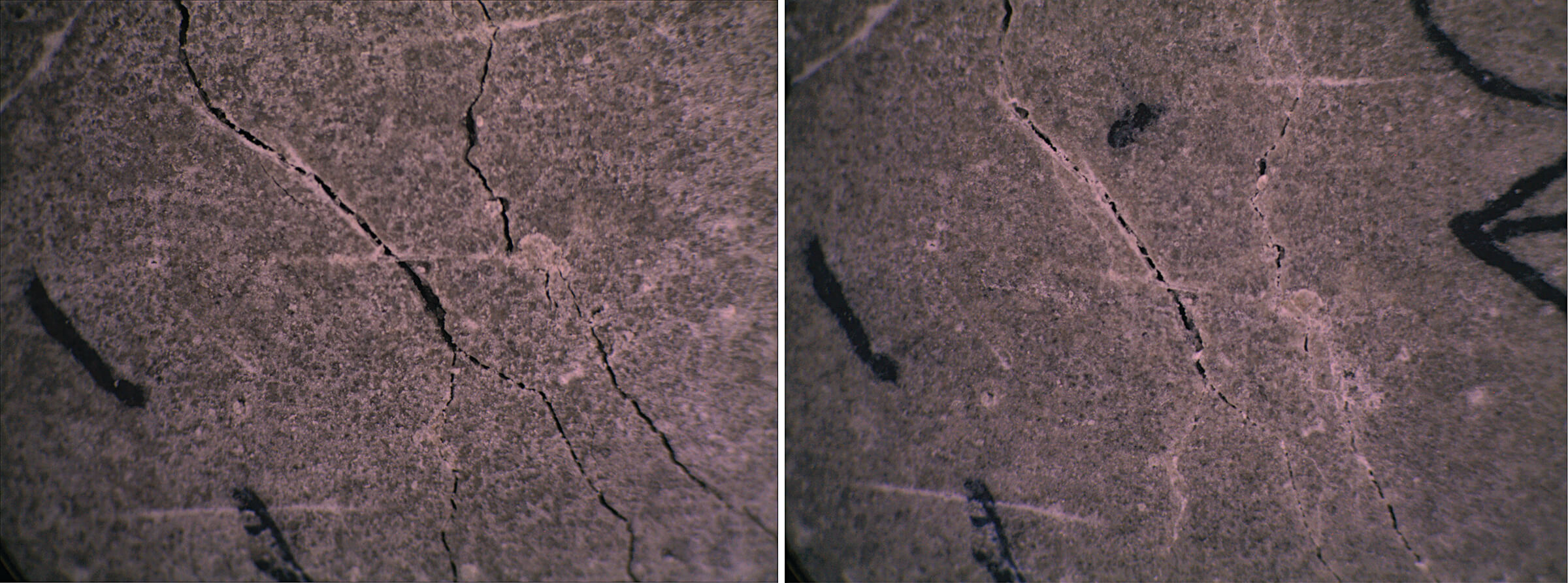 Concrete on the left shows cracks that are healed 28 days later in the image on the right