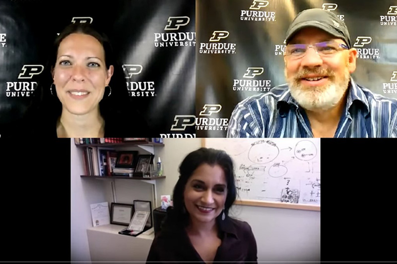 Sarah Nern and Steven Smith interviewing Seema Mattoo remotely