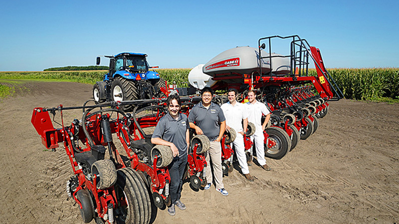 Purdue researchers with tractor