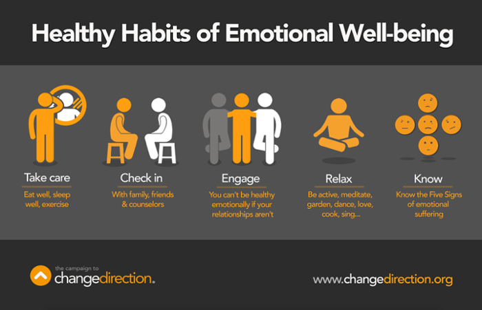 Healthy Habits of Emotional Well-being. 1. Take care. Eat well, sleep well, exercise. 2. Check in with family, friends, and counselors. 3. Engage. You can't be healthy emotionally if your relationships aren't. 4. Relax. Be active, meditate, garden, dance, love, cook, sing. 5. Know. Know the Five Signs of emotional suffering.